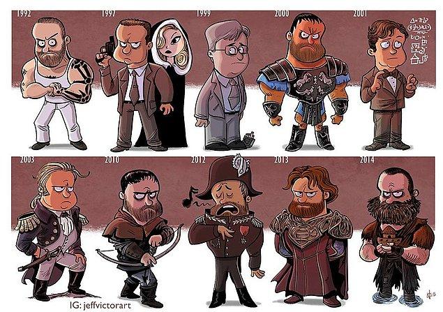Эволюция голливудских актеров от их первых до последних ролей в иллюстрациях. (33)